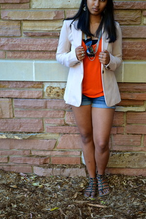light pink Forever 21 blazer - red shirt - blue Heritage 1981 shorts