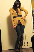 gold Urban Outfitters cardigan - brown Forever 21 blouse - brown For Love 21 bel