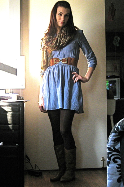 blue Divided dress - brown Urban Outfitters belt - gold Its All In The Bag store