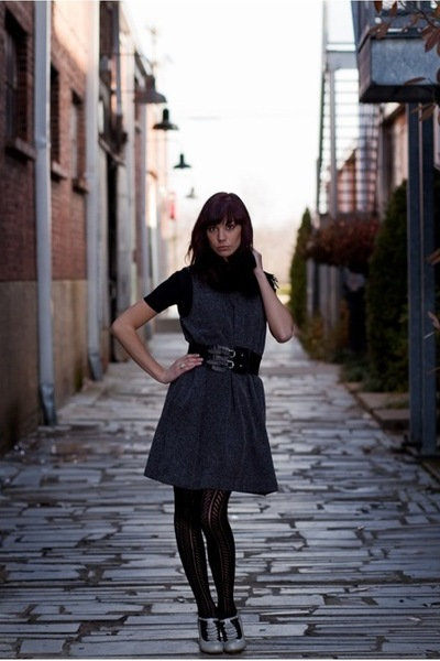 gray Gap dress - black Nashville Clothing Co belt - black Urban Outfitters tight