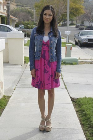 denim H&M jacket - pink american eagle outfitters dress