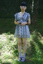white glasses - gray dress - purple sox gallery socks - black Sally shoes