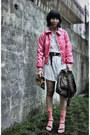 Hot-pink-krny-jacket-white-graphis-top-dark-gray-belt-salmon-sky-socks-b