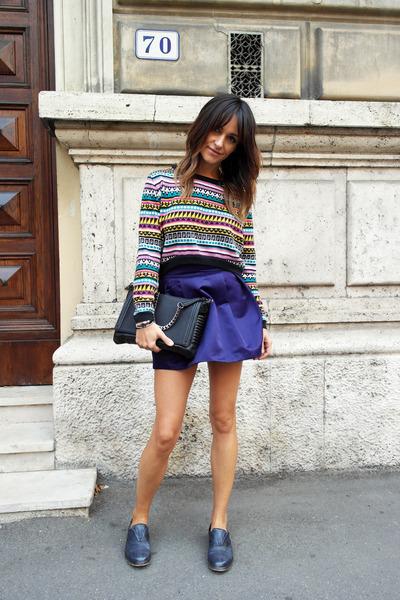 H&M skirt - peuterey sweater - Zara bag - Keep flats