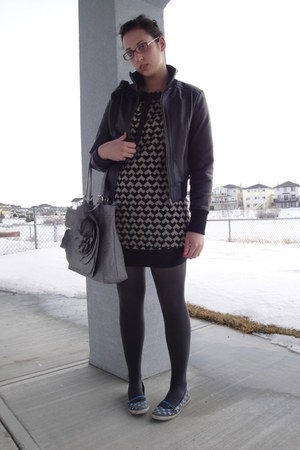 black yumi dress - black leather Tex by Max Azria jacket - gray joe fresh style