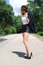 black bomber jacket Topshop jacket - black leather shorts Topshop shorts