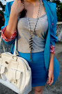Silver-chain-necklace-sky-blue-local-boutique-blazer-white-guess-bag