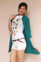 white shirt - teal textured long Fashion Fruit cardigan - brown braided belt