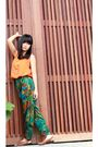 Orange-zara-top-green-pants-yellow-borneo-hand-made-necklace-brown-shoes