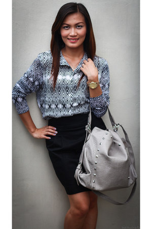 H & M blouse - Terranova bag - H & M skirt