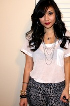 gray f21 pants - white Express t-shirt - silver f21 accessories