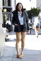 navy Zara coat - black American Apparel shorts - light blue Style Sofia top