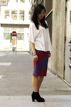 black asos boots - red Zara skirt - white Crossroads Trading co top