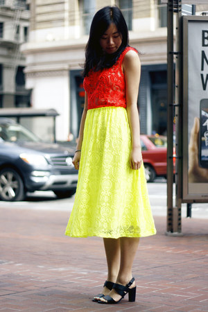 yellow asos skirt - carrot orange Yoana Baraschi top - black Zara heels
