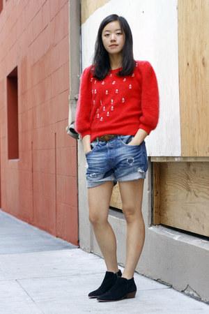 black sam edelman boots - red vintage detail Painted Bird sweater