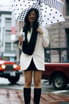black Aquatalia boots - white Zara blazer - black H&M scarf