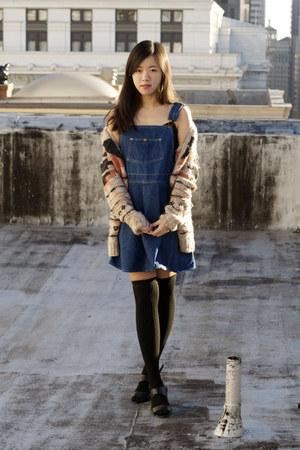 blue vintage overall dress - black American Apparel socks