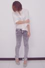 White-mango-shirt-silver-pink-label-jeans-silver-ysl-shoes