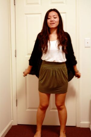 black H&M shirt - white Forever 21 top - green Urban Outfitters skirt - black Ur
