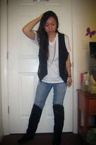 black Zara vest - white Hanes t-shirt - blue American Eagle jeans - black Bonnib