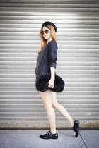 black DKNY blazer - ivory Levis shorts