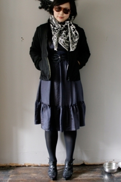 H&amp;M jacket - calypso dress - H&amp;M scarf - Zara shoes - Forever21 belt - Persol su