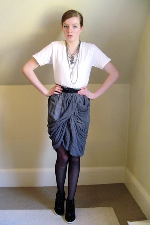 Marshalls t-shirt - DIY skirt - CVS stockings - BCBGirls shoes -  necklace