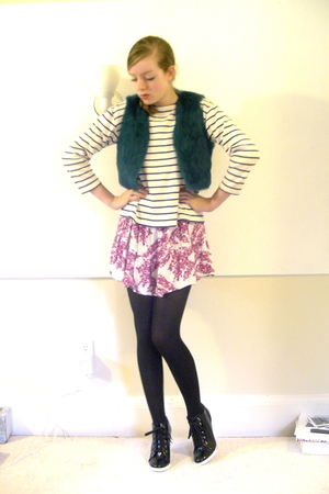 thrifted vest - thrifted sweater - H&amp;M dress - CVS tights - BCBGirls shoes