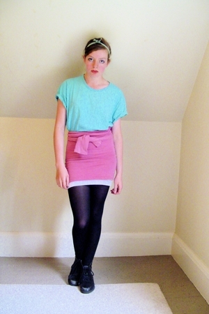 Hanes t-shirt - Free People from Filenes Basement top - CVS tights - thrifted bo
