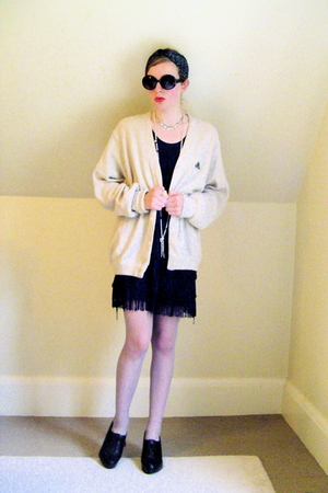 Urban Outfitters sunglasses - thrifted sweater - H&amp;M dress - thrifted stockings 