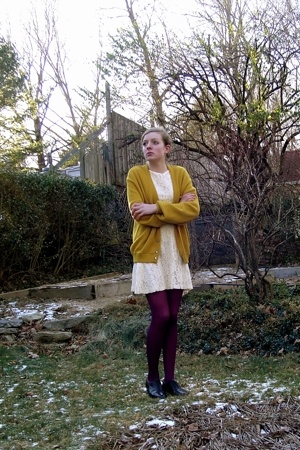 vintage sweater - self-made dress - H&amp;M tights - thrifted shoes