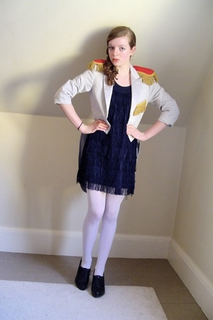 vintage jacket - H&M dress - thrifted tights - Nine West shoes