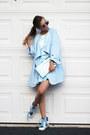 Sky-blue-chicwish-dress-sky-blue-blackfive-coat-sky-blue-lebunny-sneakers
