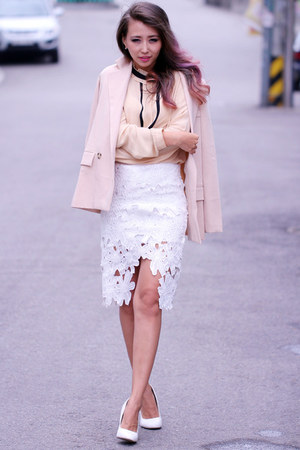 nude polyester Chicwish blazer - white high waisted Chicwish skirt