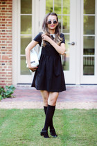 black romwe dress - white romwe bag - black blackfive sunglasses