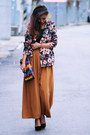black floral print Chicwish blazer - tawny wide kpopsicle pants