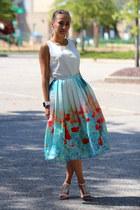 sky blue Chicwish skirt - carrot orange Yesfor bag