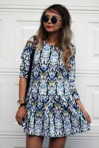 black Daniel Wellington watch - blue lovemartini dress