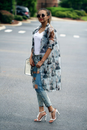 periwinkle blackfive coat - sky blue blackfive jeans - white milanoo bag
