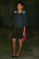 black black shoes - navy jacket - dark brown shirt - hot pink hot pink mini bag