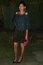 black black shoes - navy jacket - dark brown shirt - hot pink hot pink mini bag