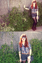 black thrifted bag - dark gray bf old pants Kr3w shorts - navy thrifted blouse -
