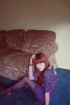 purple dress - black f21 shoes - blue tights