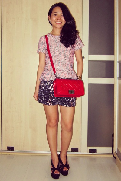 bubble gum peplum tweed Topshop top - red boy bag Chanel bag