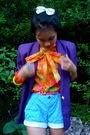 Purple-vintage-value-village-blazer-orange-thrifted-blouse-blue-old-navy-sho