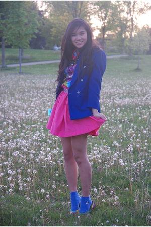 pink homemade skirt - blue thrifted blazer - purple vintage top - yellow vintage
