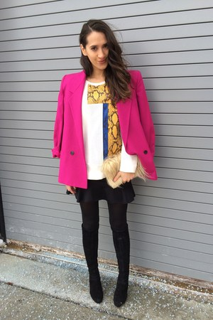 beige BCBG bag - black Cole Haan boots - hot pink christian dior coat