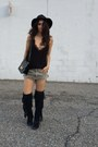 Black-sam-edelman-boots-black-vintage-hat-black-hermes-bag