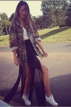 green Thrift Store jacket - black vintage skirt - white Converse sneakers
