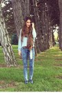 Blue-macys-jeans-brown-forever-21-scarf-blue-nordstrom-top